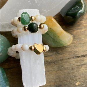 AGATE GOLD IMPERIAL JADE MIDI RING SET